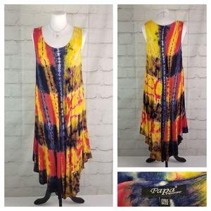 Papa Vancouver Sleeveless Tie-Dyed Swing Sundress